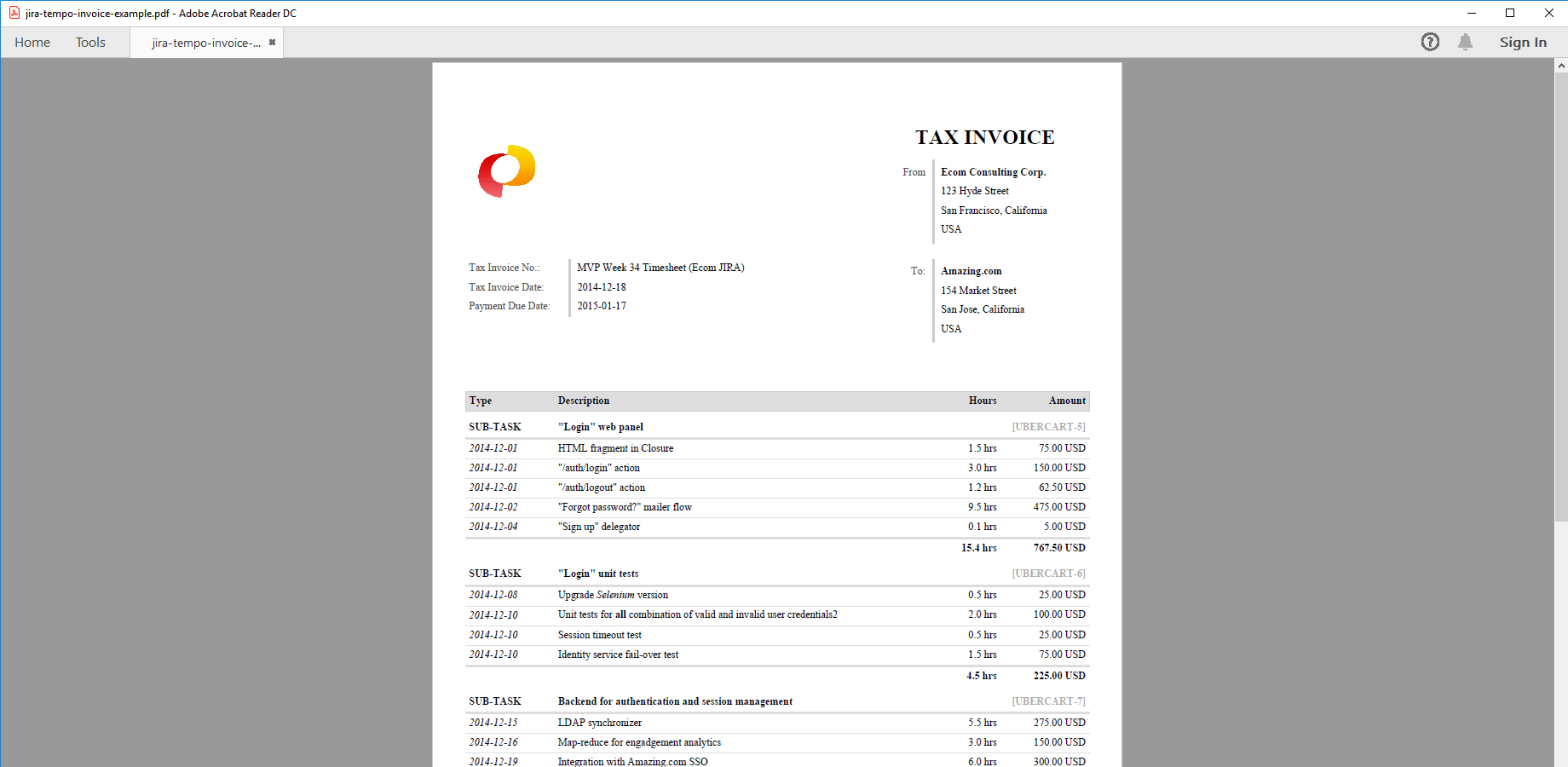 Tempo for invoicing